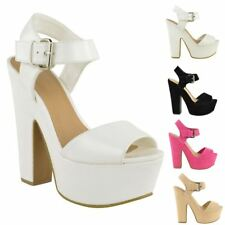 LADIES WOMENS PEEP TOE WEDGE PLATFORM HIGH HEEL ANKLE STRAP BUCKLE SHOE SIZE
