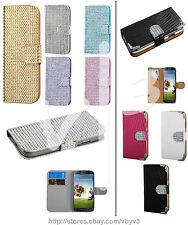 Bling Diamond Leather Wallet Flip Case Pouch Cover For Samsung GALAXY S4 i9500