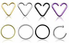 Daith Heart Seamless Lip Nose Tragus Helix Rings Choice of sizes and colours