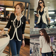 Fashion Women Ladies White Black Colors Slim Suit Coat Blazer Jacket Button New