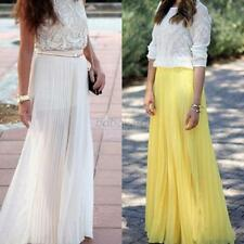 Summer Layer Long Chiffon Casual Skirts Pleated Elastic Waist Maxi Skirts S/M/L