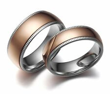 New Stainless Steel Dome Ring Rose Gold Center Wedding Band Women's Men's 6/8mm