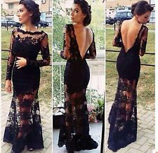 New Women Sexy Black Long Sleeve Lace Dress Backless Evening Party Dress