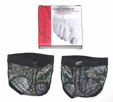 NIB New Capezio FootUndeez Shoe Foot Underwear Black Silver Hologram Foil Adult