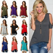 US Women Cold Shoulder Short Sleeve Hi-Lo Tunic Top Casual Loose Blouse T-Shirt