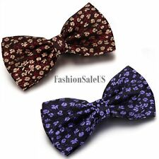 Trendy Tuxedo Bowtie Bowknot Men Floral Pattern Wedding Party Adjustable Bow Tie