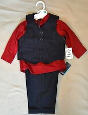 NWT BOYS NAUTICA 4 PIECE SUIT SET DRESS SHIRT PANTS VEST TIE SZ 12 18 24 MO 5Y