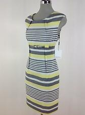 Calvin Klein NWT Yellow/Gray/Ivor multi stripes Dress with Silver Metallic belt