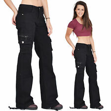 New Womens Ladies Black Wide Loose Combat Trousers Cargo Jeans Boyfriend Pants