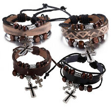 Black or Brown Leather wristband bracelet with wooden beads and cross charms