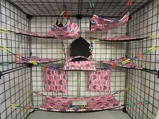 15 pc Bedding - Sugar Glider Cage Set - Rat toys - Hearts and Owls