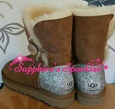 Adults Customised Crystal Chestnut Beige Bailey Button Ugg Boots Sizes 4 5 6 7 8