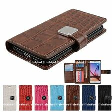 Dual Wallet Flip CrocoDile PU Leather Card Slot Case Cover for Apple Samsung LG