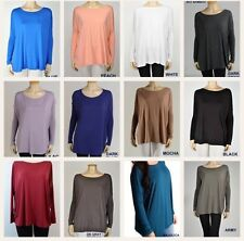 * ON SALE* PIKO LONG SLEEVE BAMBOO/SPANDEX  SLOUCHY TOPS-MANY COLORS S-M-L