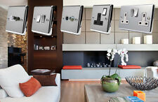 Full Range (BLACK) Polished Chrome Classic Sockets Light Switches Dimmers