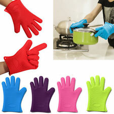 Kitchen Heat Resistant Silicone Glove Oven Pot Holder Baking BBQ Cooking Mitts E
