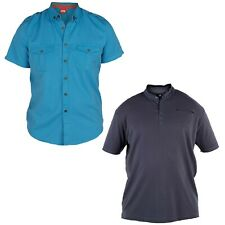 MENS KING SIZE SHORT SLEEVE SHIRTS IN 3 COLOURS BLUE CHAMBRAY & PLUM BLACK
