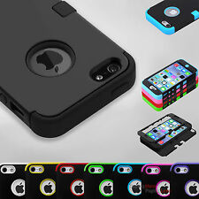 Hybrid Shockproof Hard&Soft Rugged Rubber Tuff Cover Case For Apple iPhone 5 5s