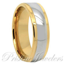 8mm Tungsten Carbide Silver Dome Ring 18k Gold Polish Wedding Band Mens Jewelry