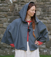 Viking-Saxon-Medieval-Re enactment SHORT GREY WOOL HOODED CLOAK/COWL one size