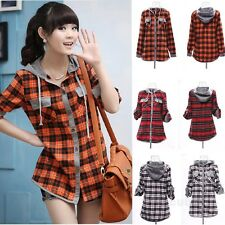 Womens Fashion Plaid Check Shirt Long Sleeve Single-Breasted Hooded Tops Blouse