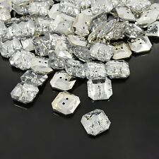Acrylic Rhinestone Buttons 2-Hole Faceted&Silver Plated Rivoli Back Square Clear