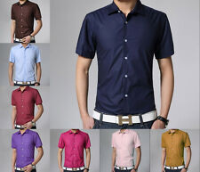 New Mens Luxury Stylish Comfortable Casual Short Sleeve Slim Fit Dress Shirts aa