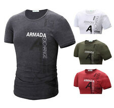 New Mens Stylish Casual T-Shirts Short Sleeve Crew Neck Slim Fit Shirts Tops tt