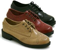 LADIES FLAT LACE UP SMART VINTAGE OXFORD BROGUES PUMPS WOMENS SHOES SIZE