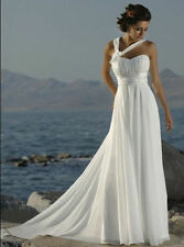 Stock White ivory Chiffon Beach Bridal Gown Prom Evening Wedding Dress Size 6-16