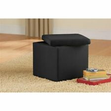 Storage Ottoman Faux Suede Seat Furniture Footstool
