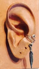 HANDMADE STERLING SILVER WIRE WRAPPED EAR IVY EAR CUFF METAL FEATHER DROP