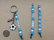 Personalised Name MANCHESTER CITY football team colours keyring bag tag MCFC