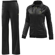 Adidas Damen Jogginganzug Trainingsanzug Sportanzug Jacke+Hose Suit schwarz/gold