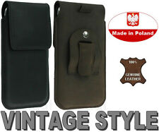 FLAP REAL GENUINE LEATHER BELT CLIP HOLSTER CASE COVER POUCH - RANGE OF MODELS