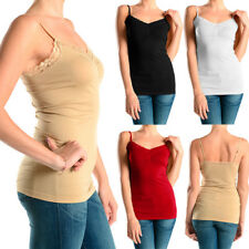 Sexy Seamless Tank Top Lace Trim Spaghetti Strap Stretch Plain Basic Tee S M L !