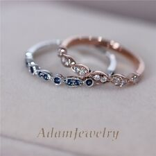 Two Ring Set-Natural Diamonds Band and Blue Sapphire Band Solid 14K Gold