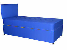 2FT6 SMALL SINGLE BLUE BOYS DIVAN BED, BLUE DIVAN BED CHILDRENS BED AND MATTRESS