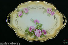 Antique Royal Rudolstadt Prussia Pink Roses Cream Gold trim Porcelain Plate tray
