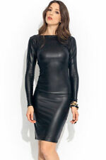 Celeb style wet look faux cuir look manches longues midi robe 8-22 Mesdames pour femme