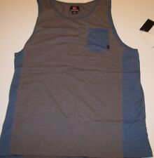 New QUIKSILVER heather gray blue pocket tank top sleeveless muscle shirt sz XL