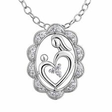 925 Sterling Silver Mom Kid Love Heart CZ Frame Pendant Necklace Christmas Gift