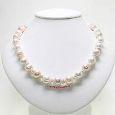 TPJ Unique Design Necklace; Genuine Keshi & M/C Pearls 925 Silver Toggle Clasp