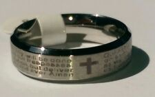 Stainless Steel Lord's Prayer & Cross Ring Laser Etched Beveled Edge Sizes 5-11