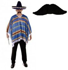 Mens Adult Mexican Fancy Dress Costume Poncho Western Mustache Mexico