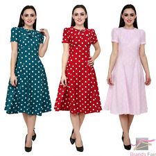 HELL BUNNY 40's Madden Polka Dot Plus Size Red Green Pink Tea Swing Dress