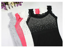 Sexy Bling Diamante Women Lady Lace Cami Vest Singlet Summer Tank Top Sleeveless