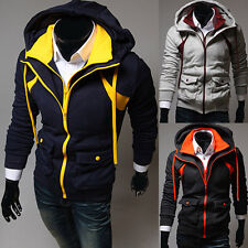 Mens  Zip Up Hooded Hoodie Casual Fitted Contrast Color Sweats Coat Outwear