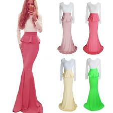 Women Lace Peplum Bandage Bodycon Prom Cocktail Evening Party Maxi Long Dress NT