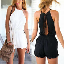 Neu Mode Damen Halfter Backless Jumpsuit Overall Clubwear Playsuit Romper Shorts